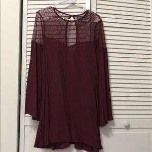 Medium maroon and lace dress with keyhole back